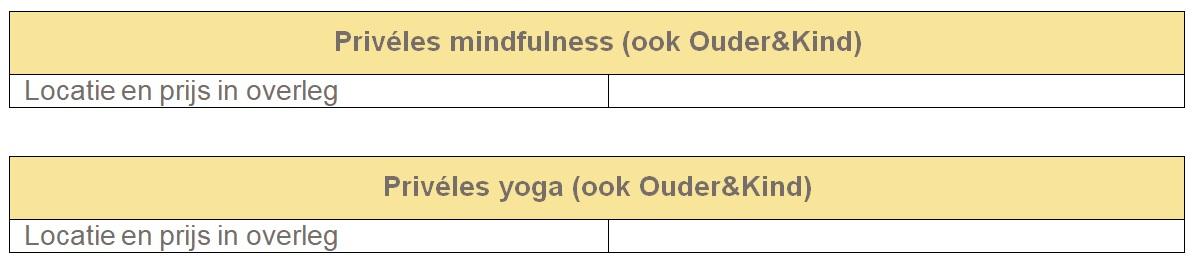 Tabellen lesrooster mindfulness yoga prive