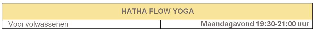 Tabel HATHA FLOW YOGA